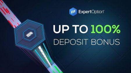 ExpertOption ویلکم پروموشن - 100٪ ڈپازٹ بونس $ 500 تک۔